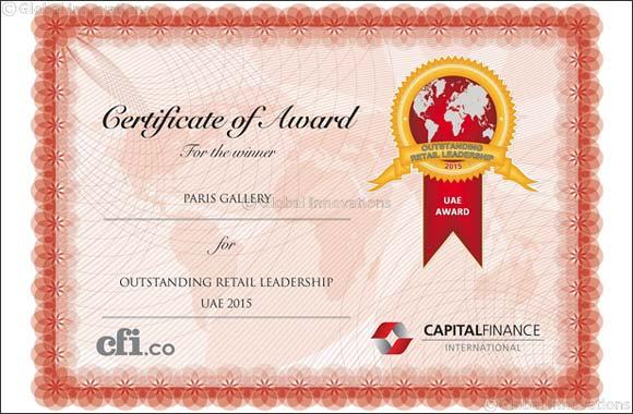 Paris Gallery: Outstanding Retail Leadership UAE 2015