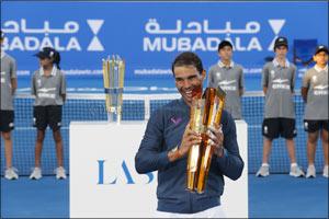 Lasvit Trophy Raised by Rafael Nadal at the Mubadala World Tennis Championship