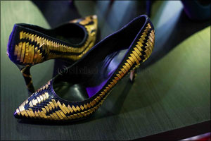 World Premiere of Gold and Diamond-Studded Women's Shoe Collection Dazzles Trade Visitors at Leather ...