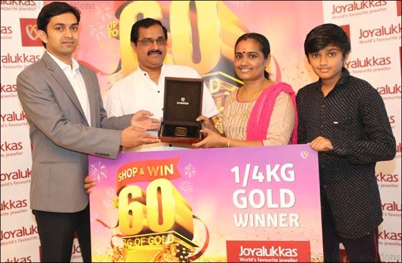 Joyalukkas presents ¼ Kilo Gold to the Winners of the ongoing 'Joyalukkas Shop & Win Upto 60 Kg Gold' promotion