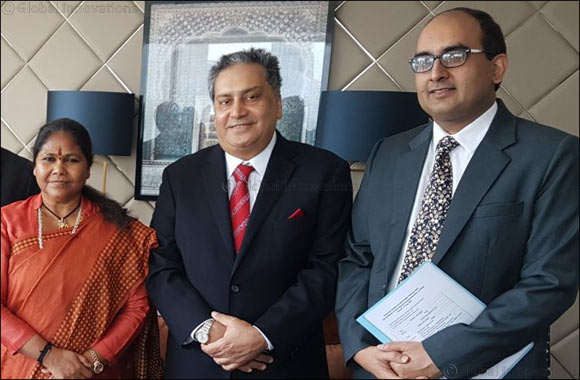 Kamal Vachani, Group Director, Al Maya Group, meets Hon'ble Minister of State for Food Processing Industries, Government of India,  Smt. Sadhvi Niranjan Jyoti in Dubai