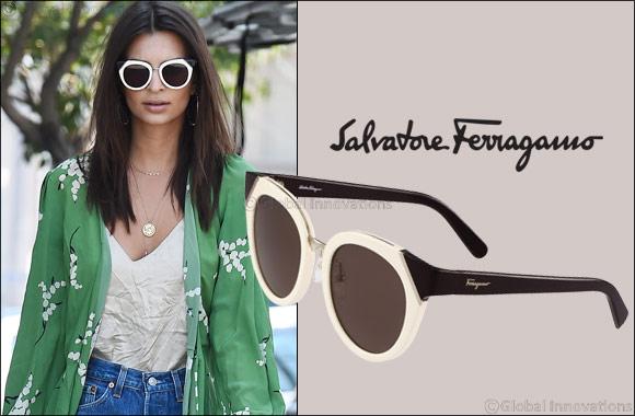 7aed8da0b16 Emily Ratajkowski wears Salvatore Ferragamo eyewear