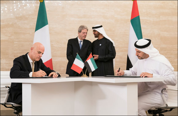 Agreement signed in the presence of His Highness Sheikh Mohammed Bin Zayed Al Nahyan, and Italian Prime Minister, Paolo Gentiloni