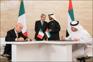 Agreement signed in the presence of His Highness Sheikh Mohammed Bin Zayed Al Nahyan, and Italian Pr ...