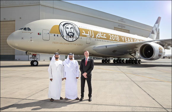 """HH Sheikh Theyab Bin Mohamed Bin Zayed Al Nahyan Marks The Launch of Etihad Airways' """"Year of Zayed"""" A380 Aircraft"""
