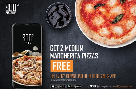 Get 2 Margherita pizzas free on every download of the new 800 Degrees App