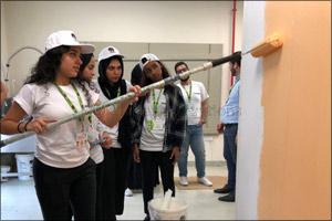 Ajman University students receive training from Caparol Paints experts