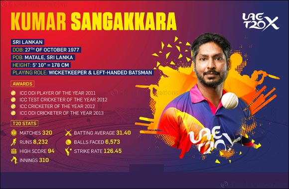 UAE T20X Completes Icon Player Line-up With  Sri Lankan Superstar Kumar Sangakkara