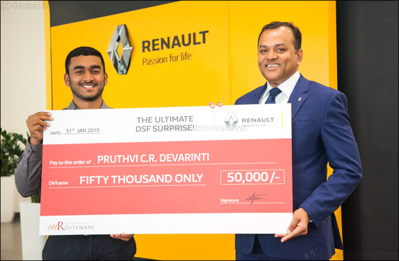 Arabian Automobiles Renault rewards AED 50,000 instant cash reward to Pruthvi C.R. Devarinti