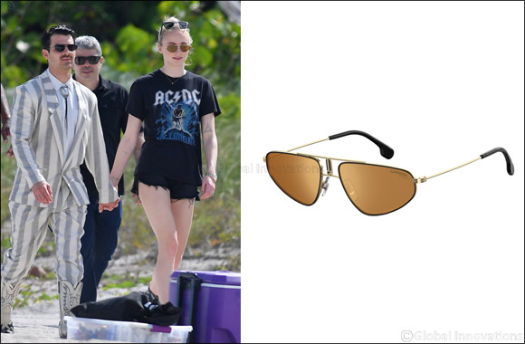 JOE JONAS and SOPHIE TURNER wearing Safilo brand - CARRERA 1021/S sunglasses