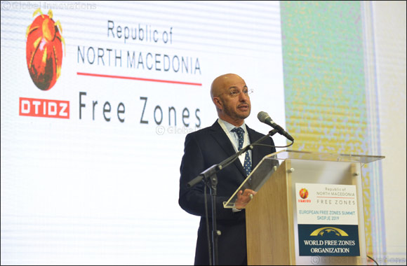 Dr Mohammed Al Zarooni, Chairman of the World Free Zones Organization inaugurates the first European Free Zones Summit in Skopje, North Macedonia