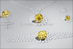 Mouawad unveils the Mouawad Dragon Yellow and White Diamond Suite, featuring the largest round brill ...