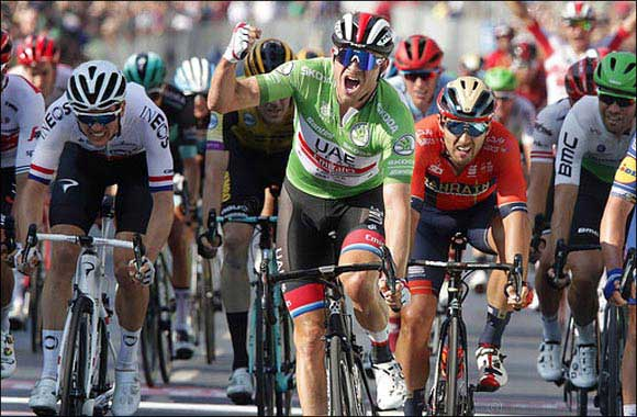 Stage Win and Leaders Jersey for UAE Team Emirates' Alexander Kristoff in Germany