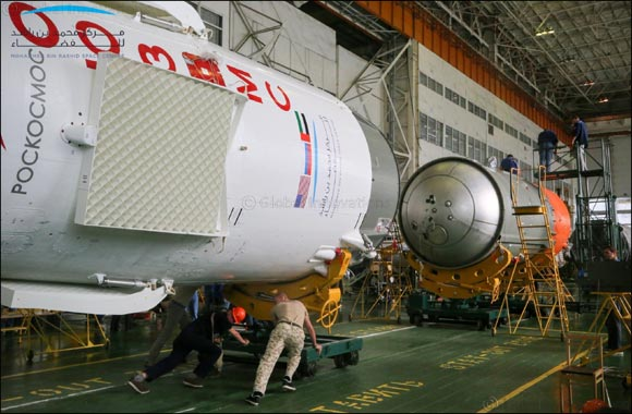 Soyuz FG rocket boasts with UAE flag and Mohammed bin Rashid Space Center logo in preparation for September 25 mission
