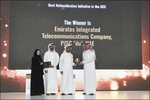 du Receives the Best Nationalisation Initiative Award at GCC GOV HR Awards in recognition for its Tr ...