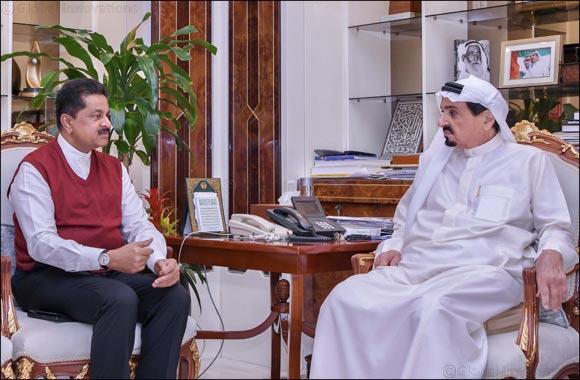 His Highness Sheikh Humaid Bin Rashid Al Nuaimi Receives Ajman-based Businessman Dr. Thumbay Moideen