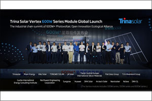 Trina Solar Unveils Vertex 600w Series Module and Expects Mass Production of 550w Series Later in Ye ...