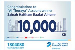 Burgan Bank Announces the Winner of the Al-thuraya Salary Account Monthly Draw