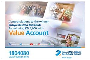 ENSIYA MUSTAFA KHAMBATI Wins KD 4000 in Burgan Bank's Value Account Draw