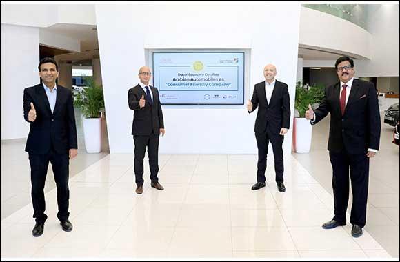 "Arabian Automobiles Company Certified by Dubai Economy as ""Consumer-Friendly Company"""