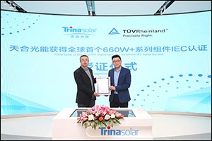 Trina Solar 660w+ Series Modules in World First With Certification From T�v Rheinland