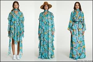 Kristina Fidelskaya � Fall Blues, Sixties Floral Print, & Retro-Inspired Ruffles