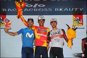 UAE Team Emirates' Alessandro Covi on the Podium  At the Tour of Sicily