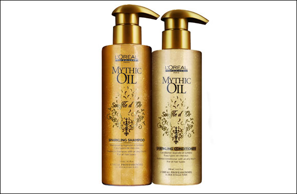 A sparkling solution for healthy hair is now possible with Mythic Oil Souffle D'Or