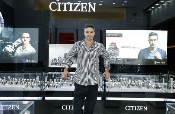 Cricket superstar Pietersen Visits Citizen showroom in Dubai
