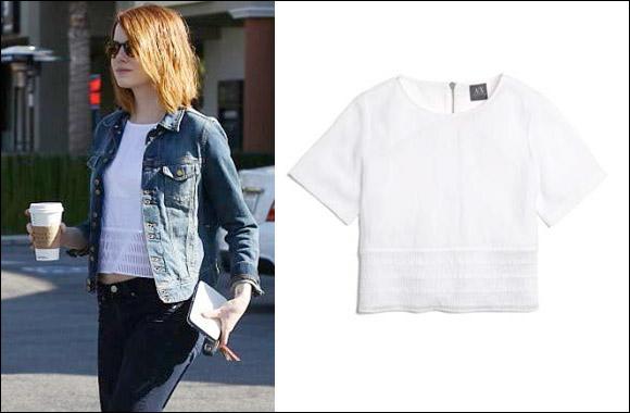 "Armani Exchange Style Alert - Emma Stone seen wearing Armani Exchange ""White Edition"""