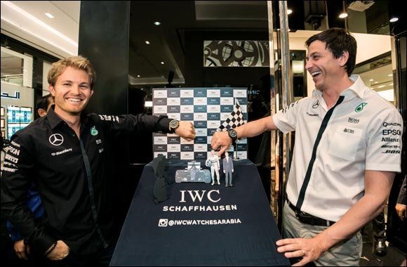 Nico Rosberg pits in at the IWC Boutique in Bahrain